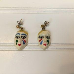 Vintage Handmade Handpainted Mardi Gras Earrings
